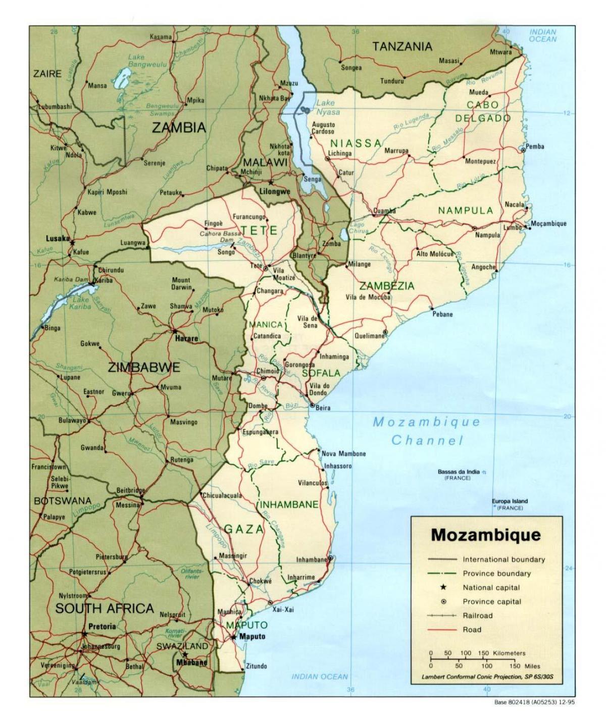 Karta Mozambik Cesta Karta Cesta Mozambika Istocna Afrika Afrika